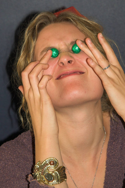 Anna Wessel sticks chocolate eggs in her eyes.
