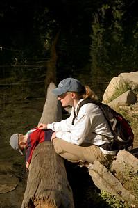 Checking the water at Hidden Lake