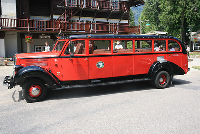 "Glacier National Park - One of the trademark symbols of the park is the red ""Jammer"" buses.  You will see these everywhere throughout the park."