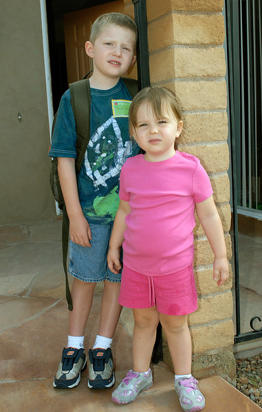 8.15.2006 -- Claire sending her big brother off for his first day of Kindegarten.