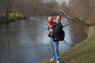 Dad & K.C. along the bank of the Brandywine River at the Brandywine River Museum.