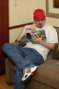 Tim anxiously awaiting the birth