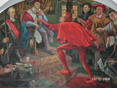 Mephistopheles, a mural on one of the walls of the Am Auernbach cellar restaurant in Leipzig.