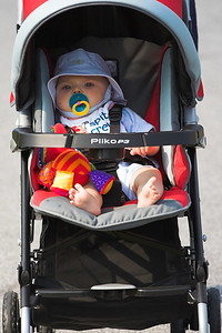 This is K.C.'s first ride in his new stroller without the infant carrier.