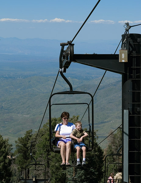8.27.2006 -- Connor comforting Mom on the Mt. Lemmon ski lift ride.