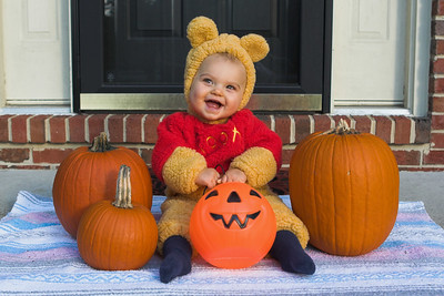 K.C. dressed up as Winnie The Pooh for our local Halloween block party.  Special thanks to our neighbor, Heather Bidgood, for lending us this costume.  (2 of 3)