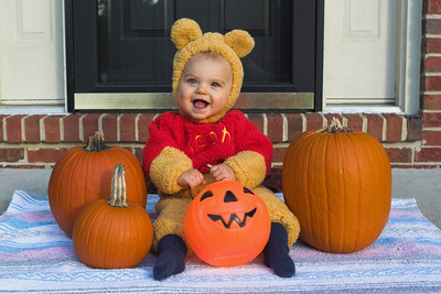 K.C. dressed up as Winnie The Pooh for our local Halloween block party.  Special thanks to our neighbor, Heather Bidgood, for lending us this costume.  (3 of 3)