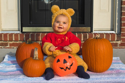 K.C. dressed up as Winnie The Pooh for our local Halloween block party.  Special thanks to our neighbor, Heather Bidgood, for lending us this costume.  (1 of 3)