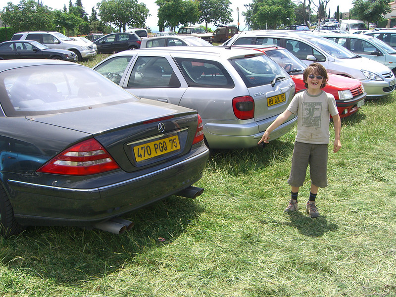 Mikey impressed with the plumbing sticking oot the back of this Merc