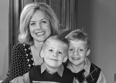 Mom & her Boys on Easter (B&W)