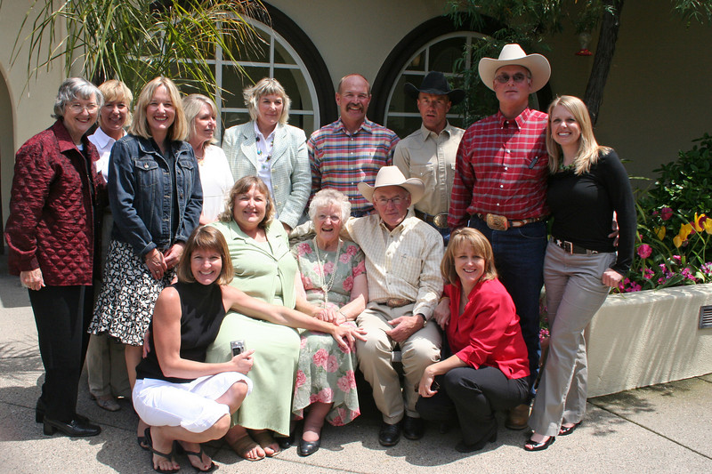 "Family attending the Cattlewoman's Lunch - Lila received an award for Cattle""MOM"" of the Year! (Back row, Leona Rief, Dee Dee Avila, Linda Ravera, Marsha Roth. Marty Schwarm, Ed, Joe, Frank, and Mandy Roth - front row, Kim Roth, Bev Kovacs, Lila, Ron & Betsy Roth) Paula was there somewhere!"
