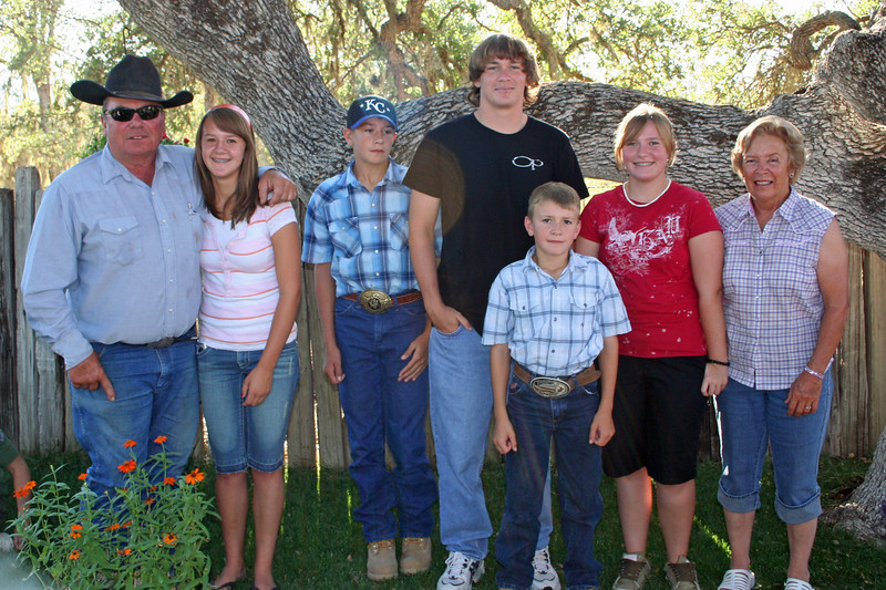 Vern Scattini, Sierra Jo & Buddy Sans, Rory Johnsen, Brody Sans, Jo Ellen Johnsen & JoAnn Scattini.  These are JoAnn & Vern's grandkids from JoAnn's side of the family (Todd & Wendy Sans' kids and Gregg & Sami Jo Johnsen's kids).  Taken 9/2/07