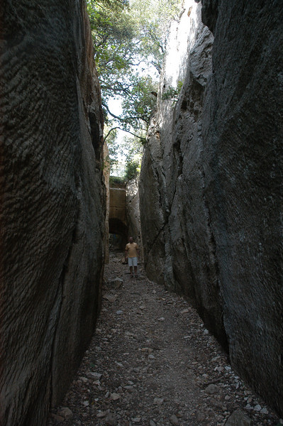 The roche taille near Mons. Lines in the rock are the chisel marks as this was dug down to allow water to be carried from the source of the Siagnole, all the way down the aquaduct to Frejus