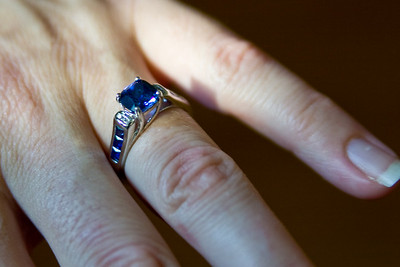 Close-up of Kristina's engagement ring