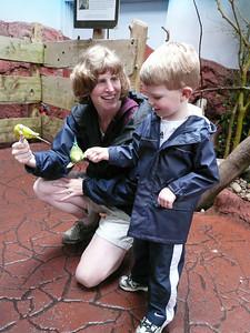 Gavin feeding birds at the zoo