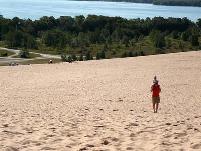 The long walk back up- made easier Sleeping Bear Sand Dunes