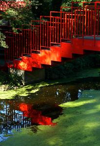Red bridge Dow Gardens
