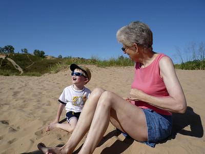 Gavin and Grandma on the dunes