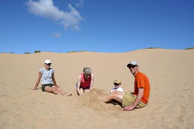 Gavin, Grandma, Teresa and TIm on the dunes