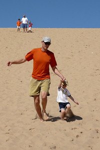 Gavin and Tim running down the big hill Sleeping Bear Sand Dunes