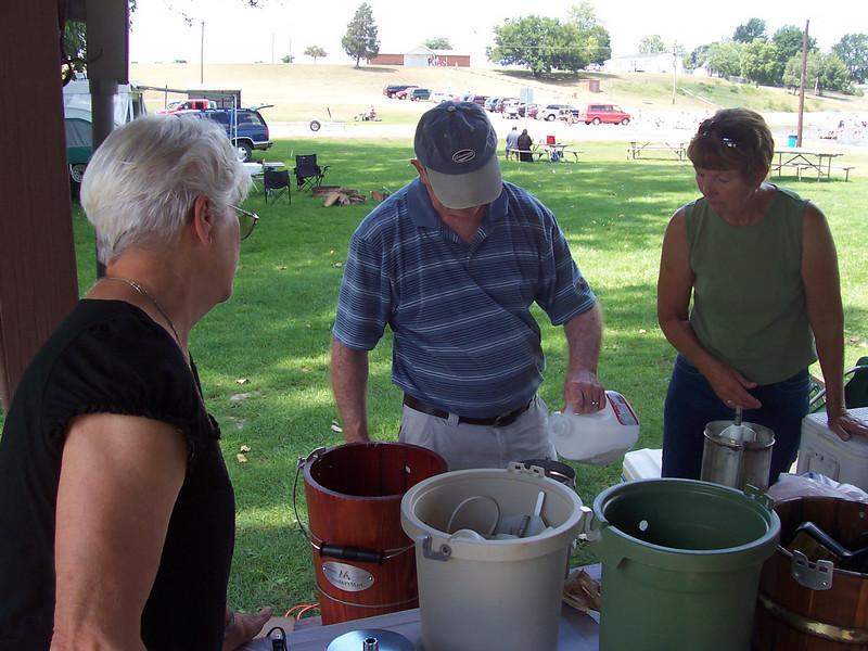 Kathy Lloyd & Liz making Ice Cream