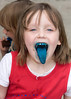 Sarah shows off her blue tongue
