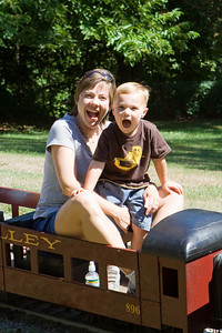 Mom and KC riding the Auburn Valley railroad at Auburn Heights.