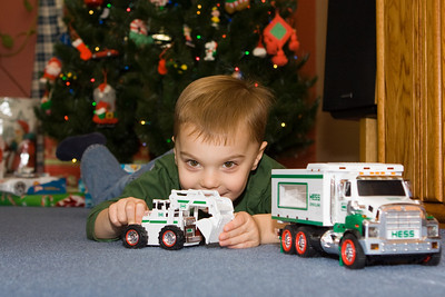 K.C. enjoys his brand new Hess truck that he received from MomMom.