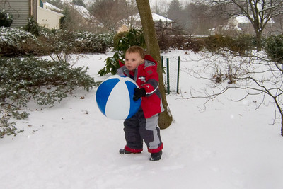 Yes, that really is a beach ball outside in the snow.