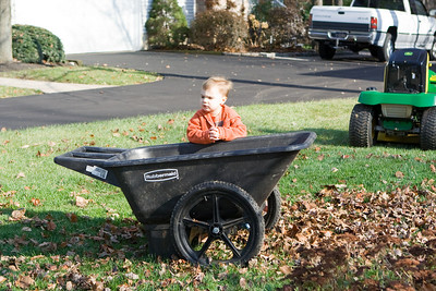 K.C. monitors the leaf cleanup process.
