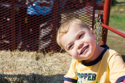KC enjoyed the hay ride at Ramsey's Farm.  He wanted to sit up front so he could view the tractor.