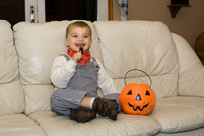K.C. enjoys candy from a good night of trick or treating.