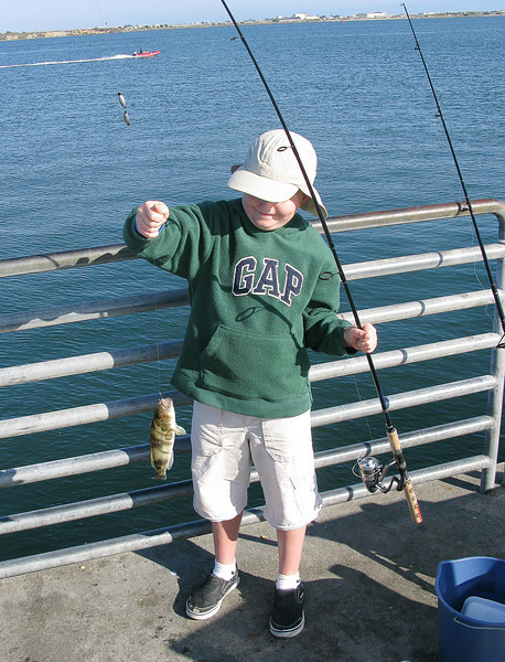 7.1.2008 - Our family vacation in San Diego.  Fishing on Shelter Island fishing pier.
