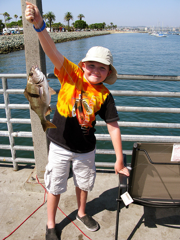 7.3.2008 - Our family vacation in San Diego.  Connor with the Sargo he caught on the Shelter Island fishing pier.
