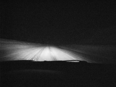 Road to Tahoe (driving late at night in a snowstorm)