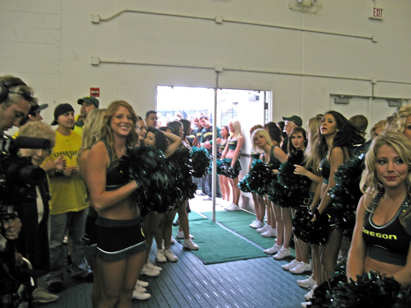 cheerleaders waiting for the team to come through