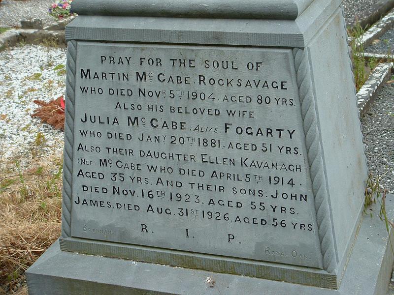 Tombstone martin Mccabe 1904