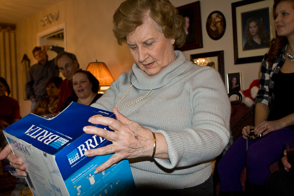 Shirley lucks out with gift #2, a water purifier. She seems tentatively satisfied with the switch.