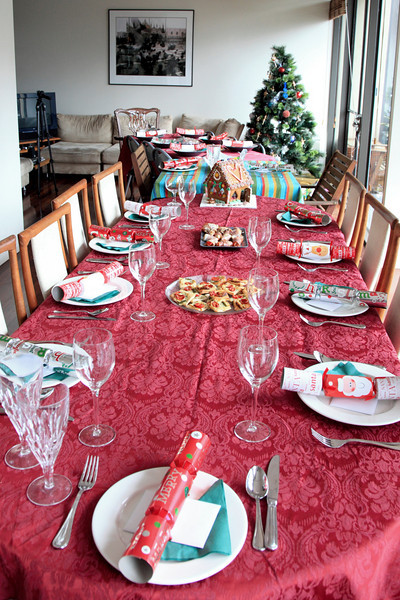 The Christmas Dining tables... three of them in a row, with 18 seats.