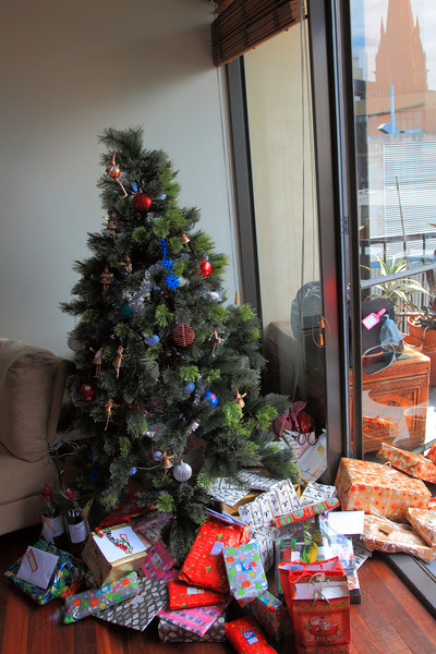 The Christmas tree, with pressies.
