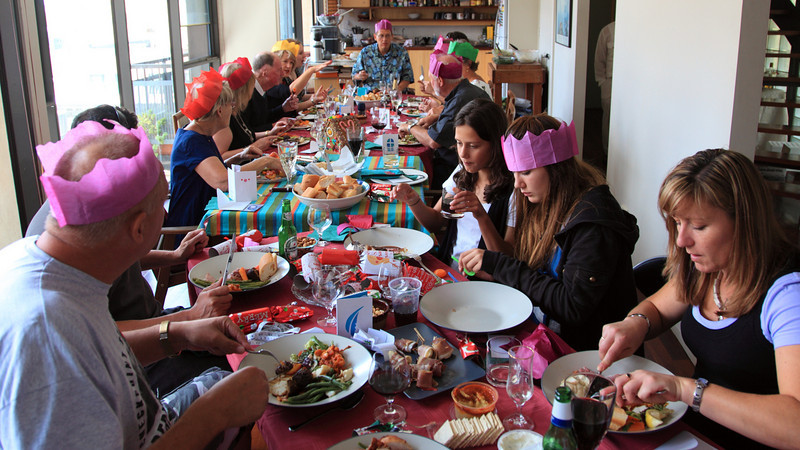 All around the table(s) for Christmas lunch.