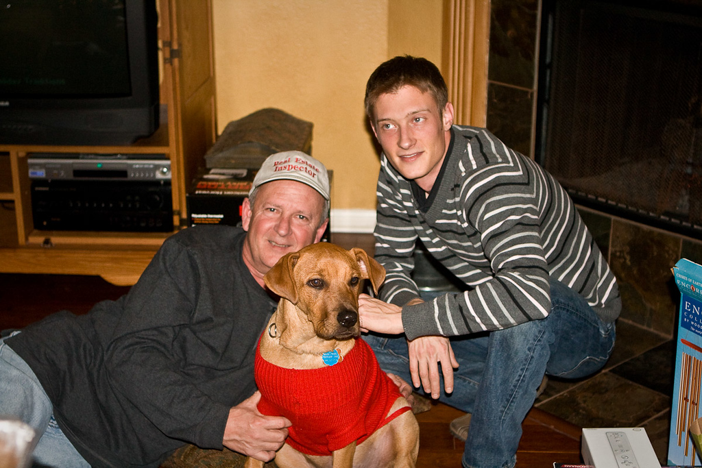 Gary Pruitt (Justin's stepdad), Pluto and Justin. Look here Justin. Justin! Over here, boy!