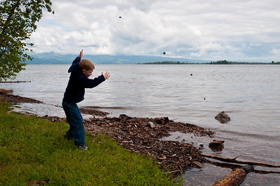 Throwing rocks into Flathead Lake