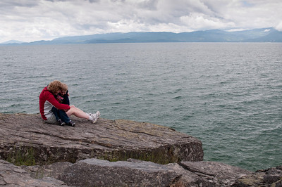 Climbing the rocks at Flathead Lake State Park, Wayfarers Unit