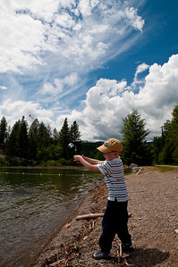 Learning to cast at Flathead Lake