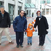 Walking with Gavin to Sunday Brunch (leftmost is Grandpa Shin)