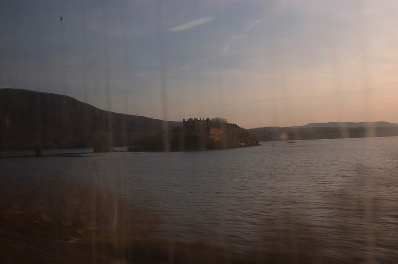 Bannerman's Castle through dirty train windows