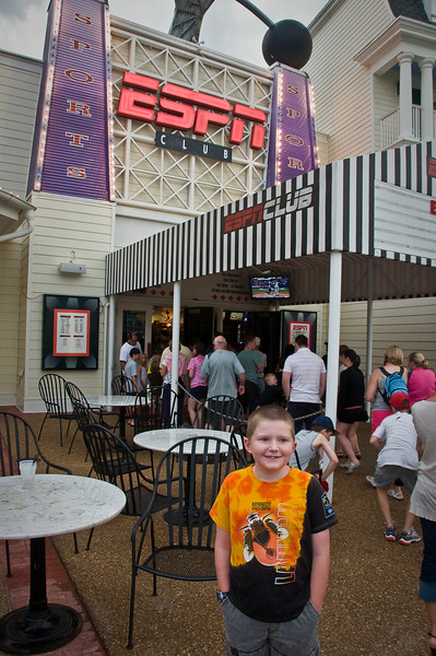 July 11, 2009 -- Connor at the ESPN Zone at Disney Boardwalk.  The Space Shuttle launch was postponed earlier in the day.<br /> <br /> Image from Connor and Dad's trip to the Kennedy Space Center (KSC) for the launch of the Space Shuttle Endeavour.  It was ultimately postponed due to weather.