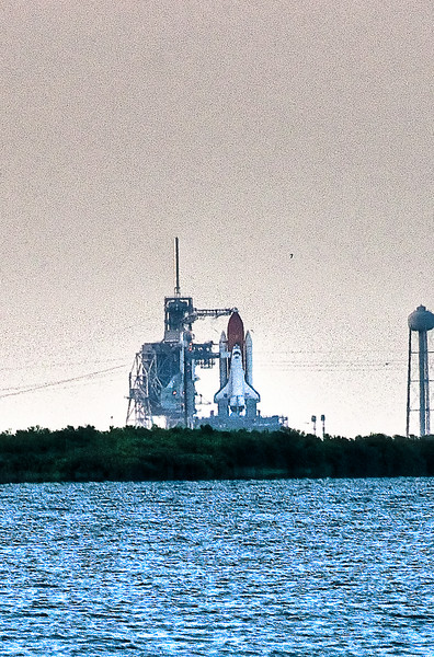 July 12, 2009 -- HDR image of the Space Shuttle Endevour.  Taken approximately 6 miles from launch pad 39 A.<br /> <br /> Image from Connor and Dad's trip to the Kennedy Space Center (KSC) for the launch of the Space Shuttle Endeavour.  It was ultimately postponed due to weather.