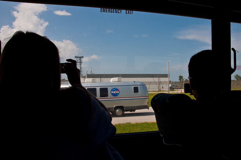"July 12, 2009 -- The ""Astro-Van""  carrying the shuttle astronauts to the launch pad.<br /> <br /> Image from Connor and Dad's trip to the Kennedy Space Center (KSC) for the launch of the Space Shuttle Endeavour.  It was ultimately postponed due to weather."